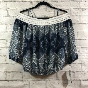 BCX Navy Blue Crocheted Paisley Cold-Shoulder Top